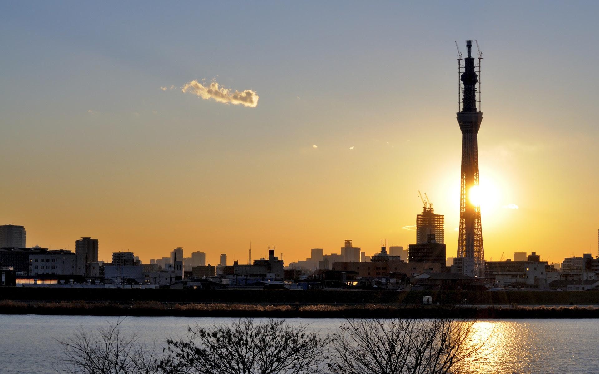 好き勝手に 壁紙 夕日と 東京スカイツリー 1920x1200 日本の東京