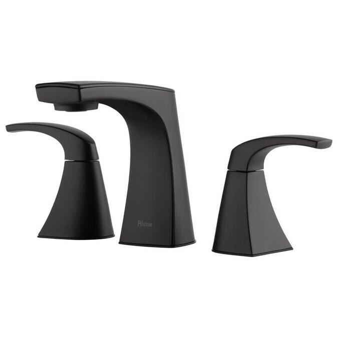 Pfister Karci Matte Black 2 Handle 8 In Widespread Watersense Bathroom Sink Faucet With Drain In The Bathroom Sink Faucets Department At Lowes Com