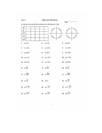Math 175 Trigonometry Worksheet We begin with the unit circle. The ...