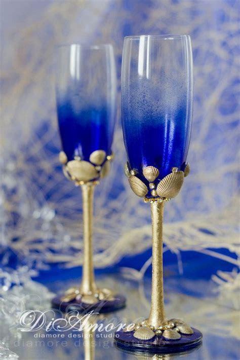 Personalized Beach Wedding Champagne Flutes, Sea Wedding