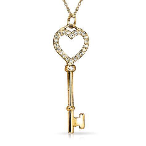 925 Sterling Silver Pave CZ Open Heart Key Pendant
