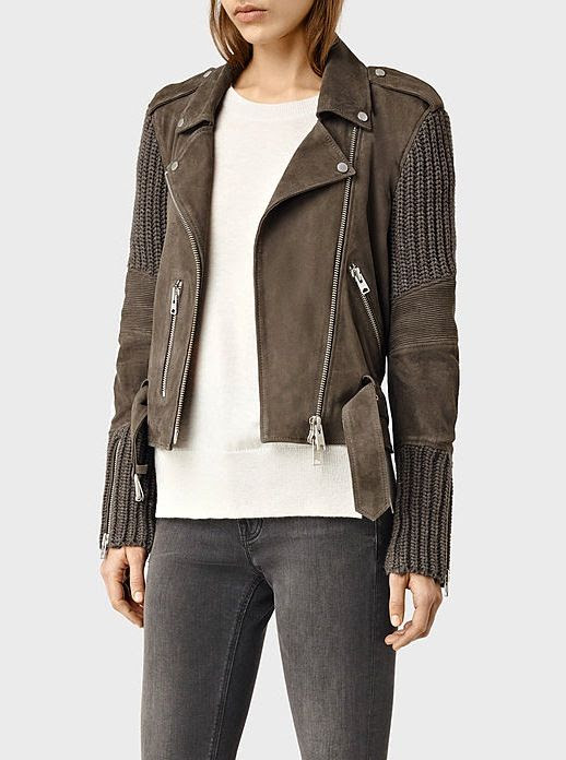 Le Fashion Blog Khaki Green Paneled Biker Jacket Crewneck Sweater Faded Grey Skinny Jeans Via All Saints