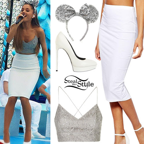 ariana grande silver bralet white pencil skirt  steal