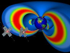 Artist's rendering showing two spacecraft representing the not-yet-designed Radiation Belt Storm Probes