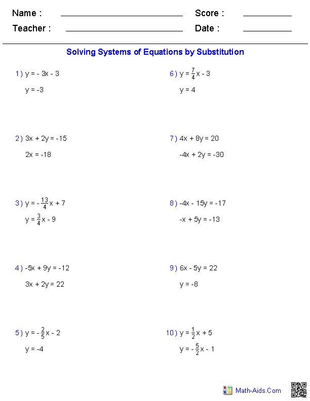 Algebra 1 Worksheets Systems Of Equations And Inequalities Worksheets