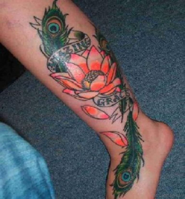 60 Excellent Feather Tattoo Designs On Leg