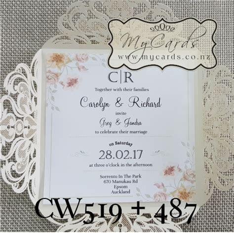 Corner Flowers Square Wedding Invitation   Design 487