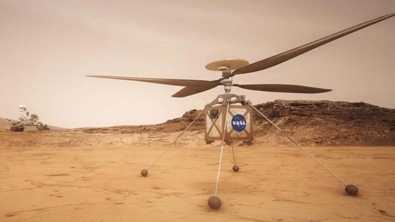 The Mars Helicopter, Ingenuity, is a technology demonstration to test powered flight on another world for the first time. It is hitching a ride on the Perseverance rover. Image credit: NASA