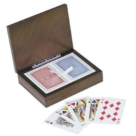 Rosewood Play Card Box with Two Deck Cards