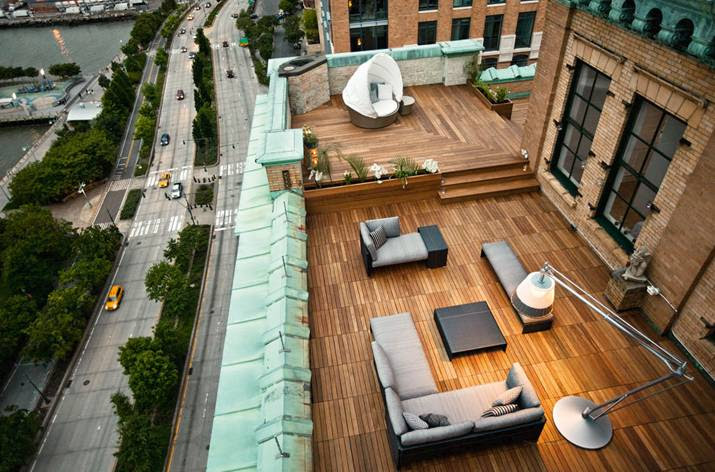 Rooftop Patio Design Ideas With Wood Flooring By Dedon