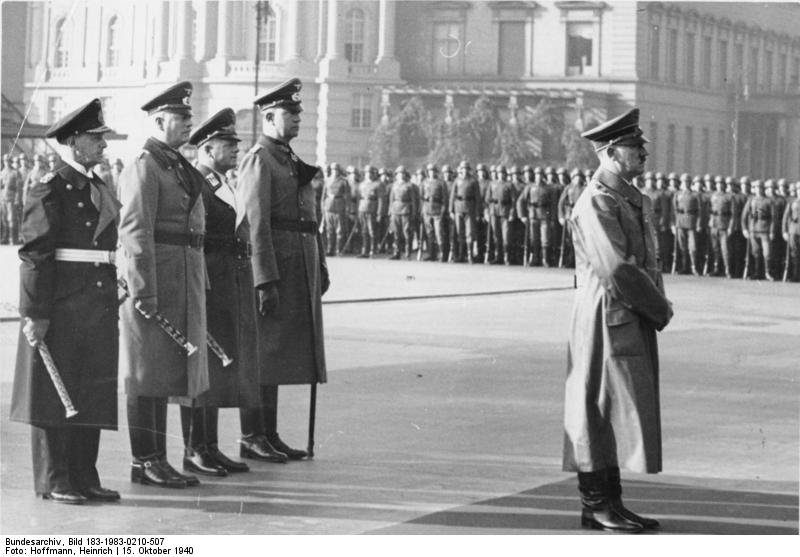 Adolf Hitler, Erich Raeder, Wilhelm Keitel, Erhard Milch, and Friedrich Fromm at the funeral of Admiral Adolf von Trotha, Berlin, Germany, 15 Oct 1940