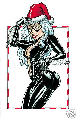 Black Cat as naughty Santa drawn by Nick Powell