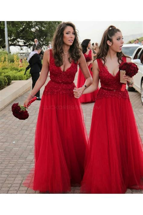 Long Red V Neck Lace Wedding Guest Dresses Bridesmaid