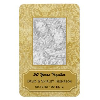 Gold Damask 50th Anniversary Photo Magnet