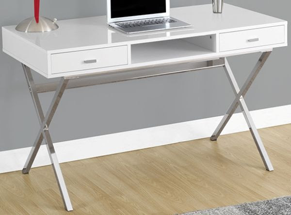 Monarch Specialties I 7211 Glossy White With Chrome Metal Computer Desk Modern High Gloss White Finish Sturdy Yet Stylish Silver Metal Legs 2 Large Storage Drawers Inside Dimensions 12 5 L X 13 W X