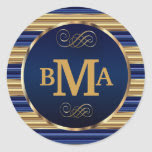Monogram Initials in Dark Blue & Gold Stripes Classic Round Sticker