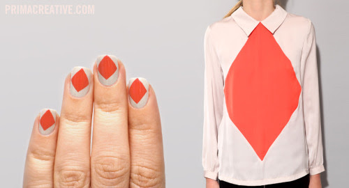 NAILS DID : Diamond Manicure Base : American Apparel California Trooper, American Apparel Poppy Inspired by : Harlequin Collar Blouse from Pixie Market