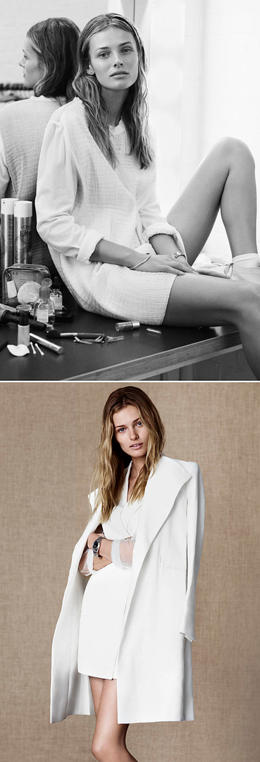 ANTIDOTE WHITE EDITORIAL WHITE SHIFT DRESS SIMPLE HAIR SILVER JEWELRY WATCH WHITE LEATHER LACE UP BOOTS WHITE JACKET SHEER SHIRT NATURAL BEAUTY Edita Vilkeviciute 1