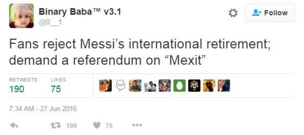 Tweet reads, 'fans reject Messi's international retirement; demand a referendum on