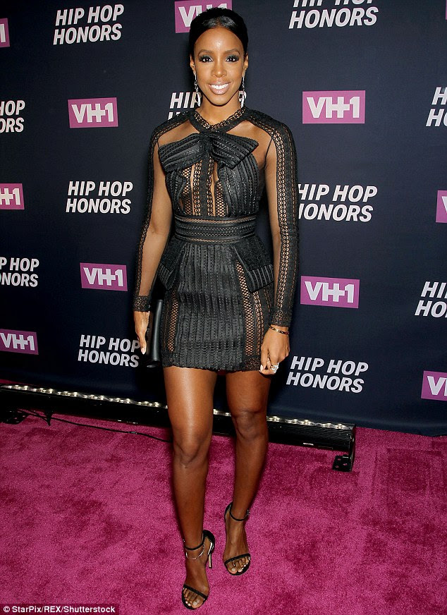Gorgeous lady: Kelly Rowland  looked incredible in mesh slightly see-through frock for the VH1 Hip Hop Honors: All Hail The Queens on Monday in New York City