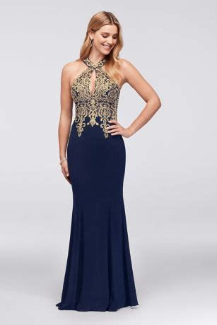 Metallic Lace and Jersey Round Neck Halter Gown   David's