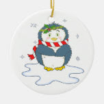 Adorable Christmas Penguin Double-Sided Ceramic Round Christmas Ornament
