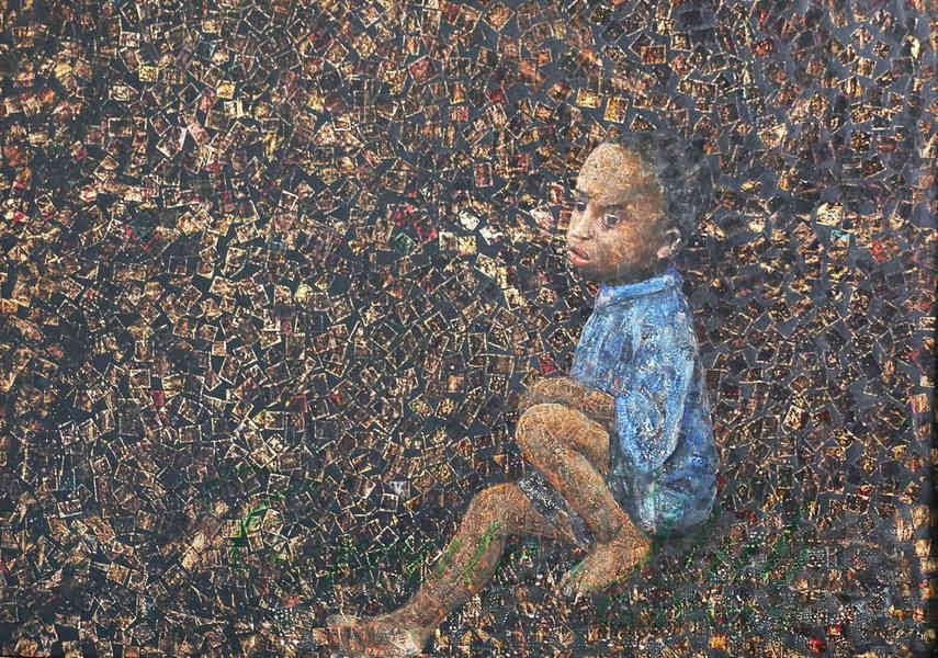 Dans sa ville natale artiste ougandaise partage souvent des nouvelles de l'exposition et des peintures sur la vue
