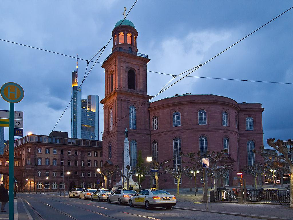 Downtown Churches Of Frankfurt Frankfurt Germany