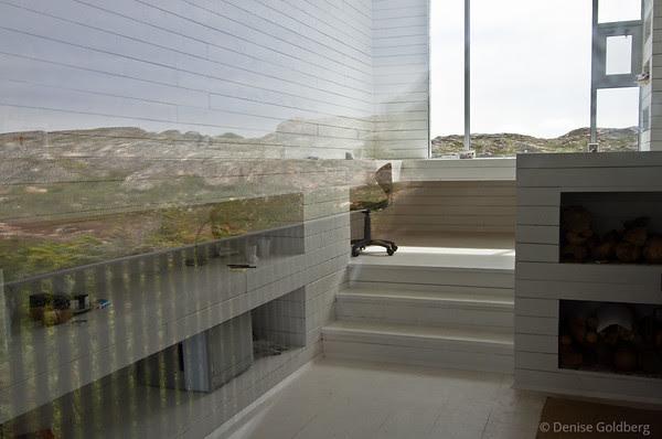 reflection of the hills behind Bridge Studio