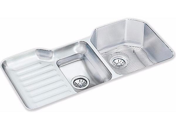 Elkay Lustertone Stainless Steel 41 12 6040 Double Bowl Undermount Sink Kit