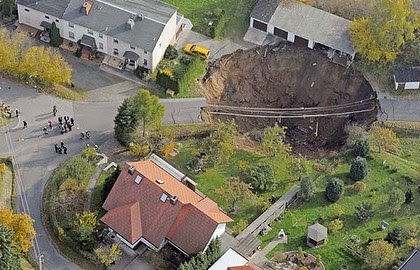 This hole appeared in a street in Schmalkalden
