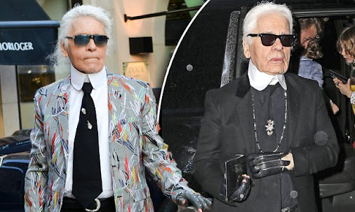 Karl Lagerfeld adds a bit of colour to his favoured monochrome look