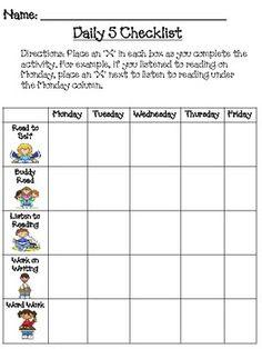 Daily 5 Weekly Checklist   Daily Agenda Calendar