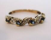 Gorgeous Vintage Sapphire & Diamond Ring Wedding Band Engagement
