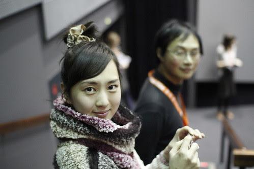 Kiki Sugino (with Koji Fukada) before the screening of HOSPITALITE in IFFR