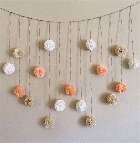 Pom Pom Garland, Peach and Creams Tissue Paper Flowers