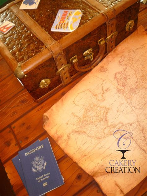 Vintage Leather Suitcase Cake With Edible Passports