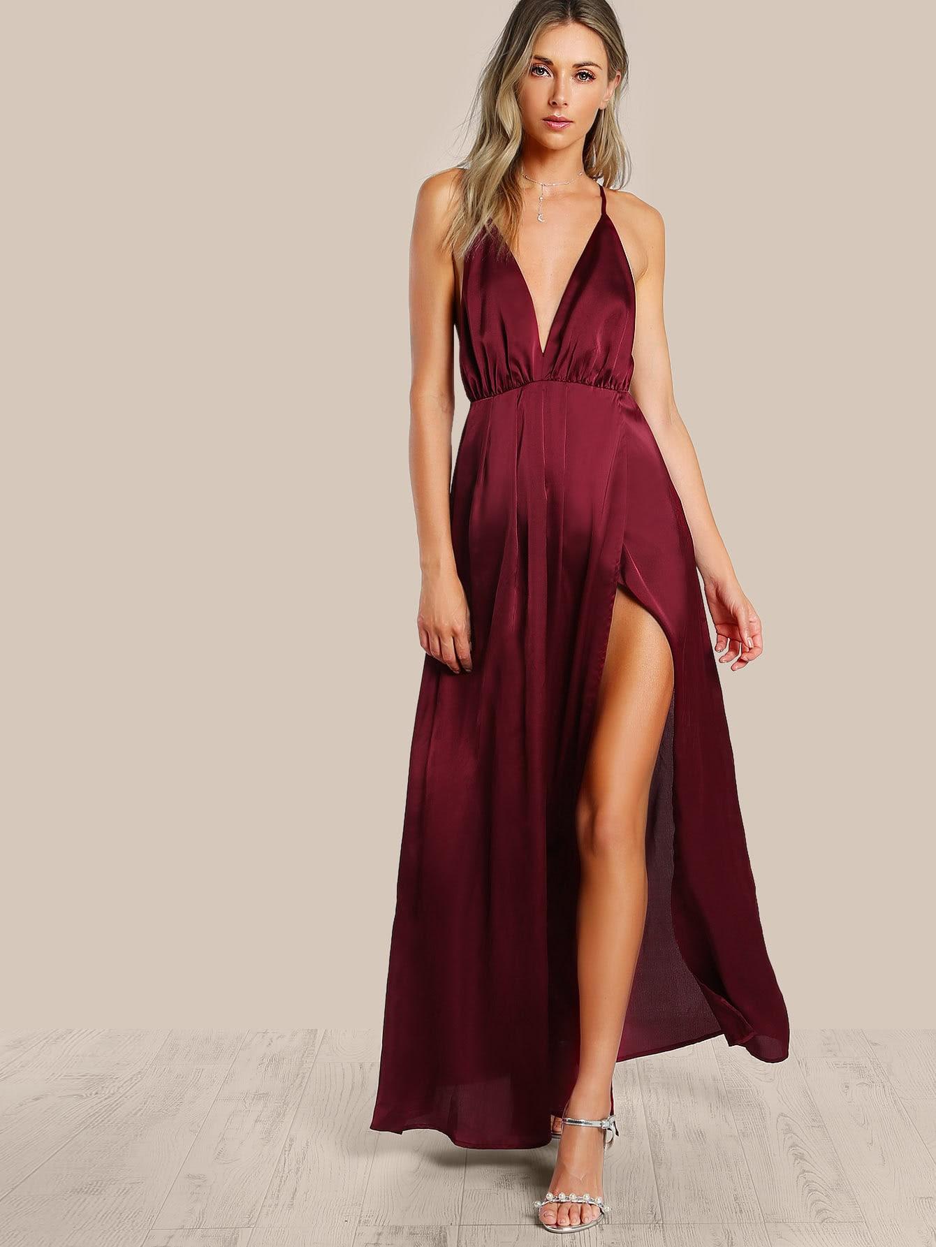 Spaghetti Strap Backless Plain Maxi Dress