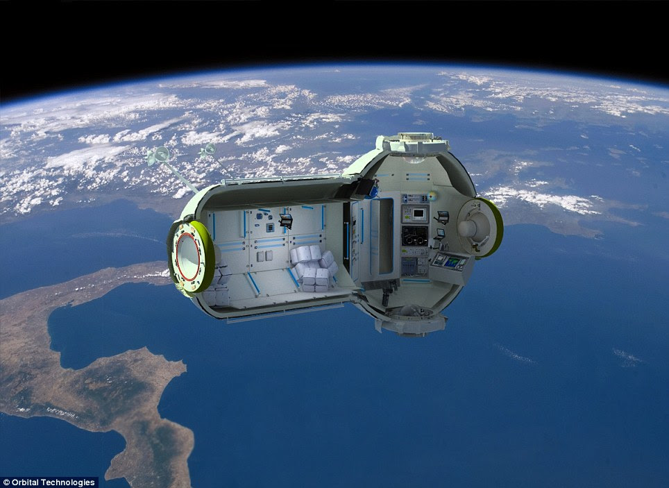 Futuristic: Orbital Technologies has revealed plans for a space hotel, which could be open by 2016