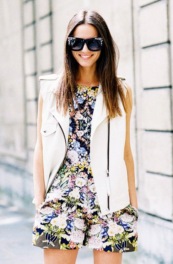 Spring / Summer - street chic style - sleeveless floral print romper + white morto chic vest + black sunglasses