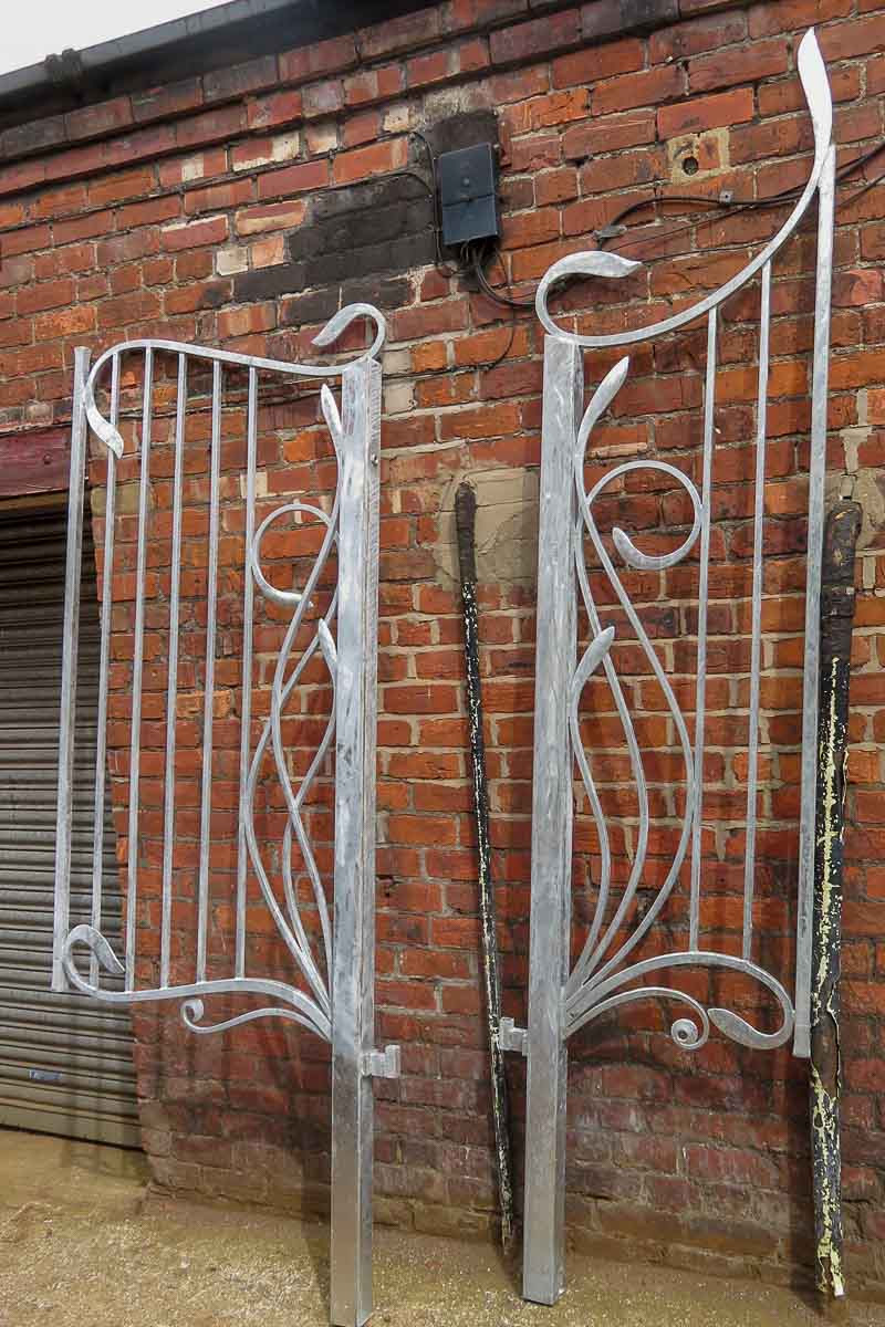 Asymmetrical Wrought Iron Art Nouveau Gates