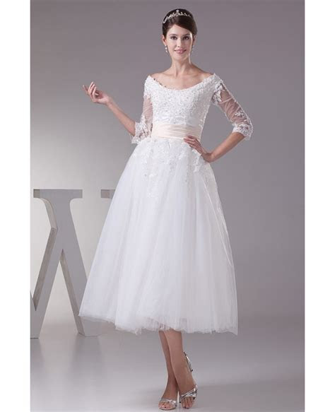 Tea length Tulle Wedding Dress A line Scoop Neck With