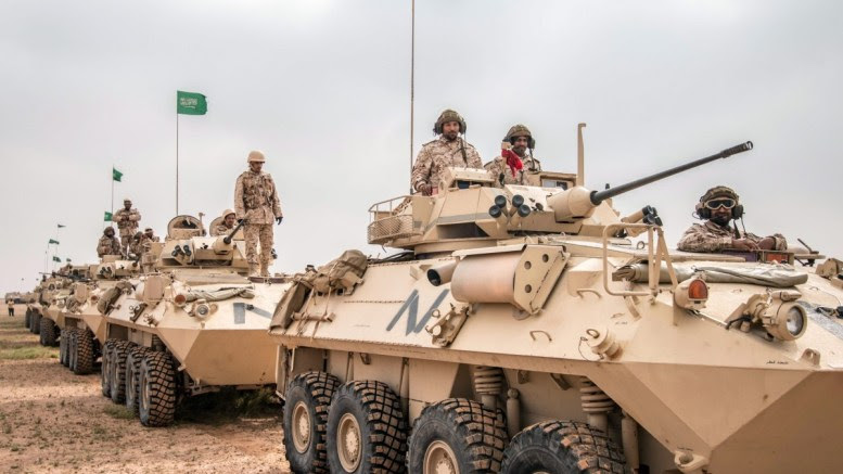 File Photo: A handout photograph released by the official Saudi Press Agency (SPA) shows Saudi soldiers on armored vehicles during the multi-national military exercise. EPA, SAUDI PRESS AGENCY / HANDOUT HANDOUT EDITORIAL USE ONLY