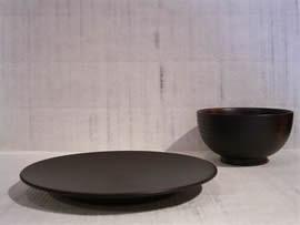 漆芸作品-イチョウ皿5寸(左)姫椀(右)
