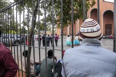 Imigrantes haitianos na Igreja do Glicério em São Paulo Foto: Pulsar Imagens