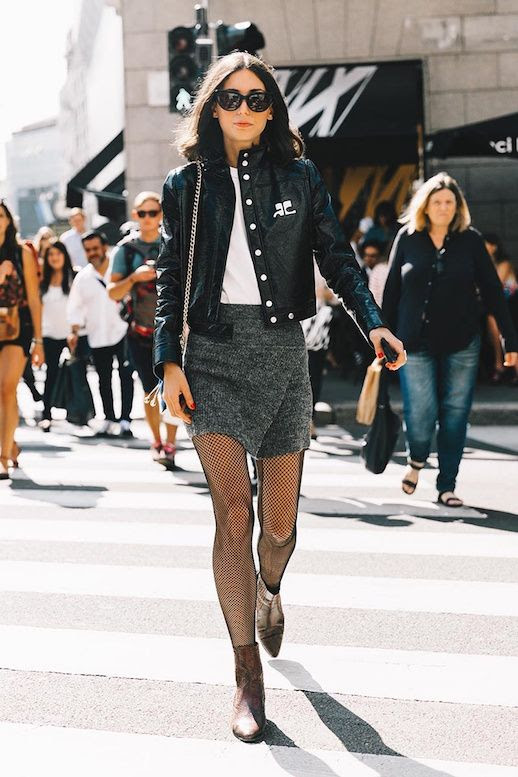Le Fashion Blog Leather Jacket Wool Mini Skirt Fishnet Tights Heeled Boots Via Vogue Spain