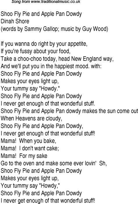 shoo fly pie song lyrics
