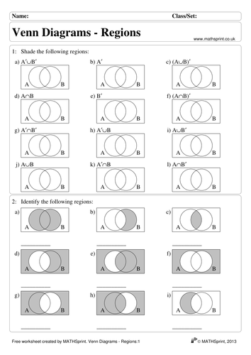 Shading Venn Diagrams Worksheet
