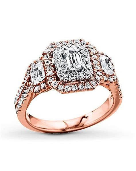 Kay Jewelers engagement ring in rose gold with emerald cut