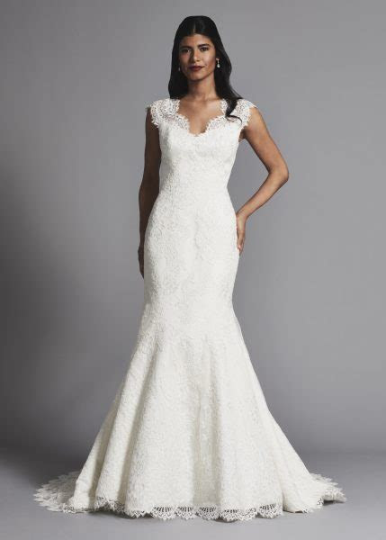 Lace Cap Sleeves Fit And Flare Wedding Dress   Kleinfeld